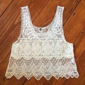 Roxy cream lace tank top in small